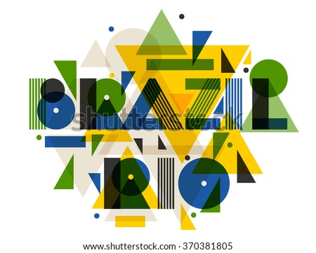 Brazil and Rio in abstract geometric style. Design for print on t-shirts, tourist brochure, advertising banner. - stock vector