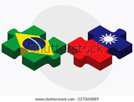Brazil and Taiwan Flags in puzzle isolated on white background - stock vector