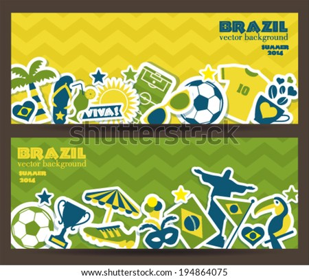 Brazil background. Set of banners. - stock vector