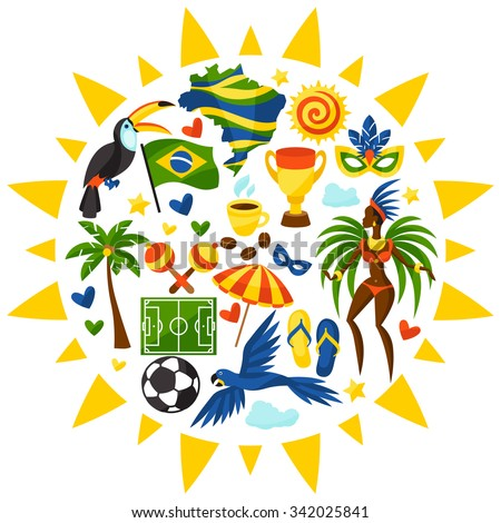 Brazil background with stylized objects and cultural symbols. - stock vector