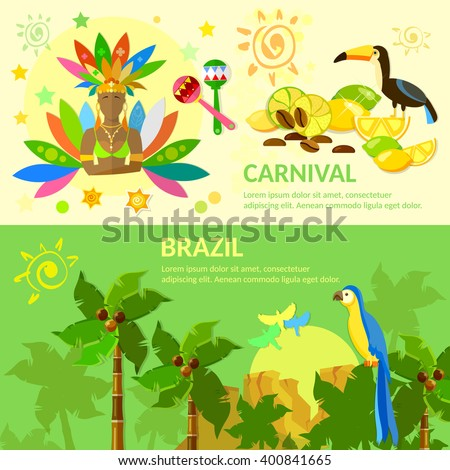 Brazil banners Brazilian Carnival Brazilian jungle Brazil vector illustration