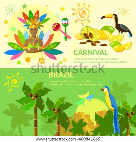 Brazil banners Brazilian Carnival Brazilian jungle Brazil vector illustration - stock vector