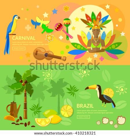 Brazil banners Carnival Brazilian woman jungle Brazil attractions Brazil vector illustration - stock vector