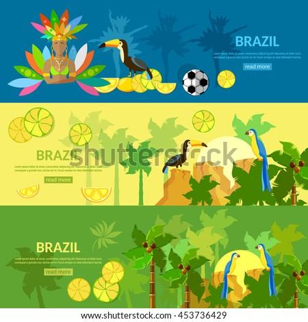 Brazil banners Rio de Janeiro girl in carnival costume brazilian culture and attractions vector illustration - stock vector