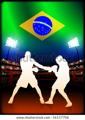 Brazil Boxing on Stadium Background Original Illustration - stock vector