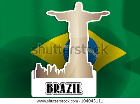 Brazil, Brazilian Flag, Silhouette of City and Christ the Redeemer Statue, vector illustration - stock vector