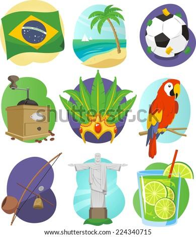 Brazil cartoon icon set - stock vector