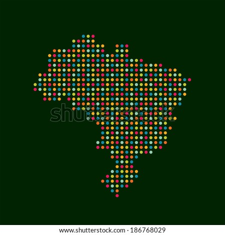 Brazil color dot map. Abstract style, modern business vector icon