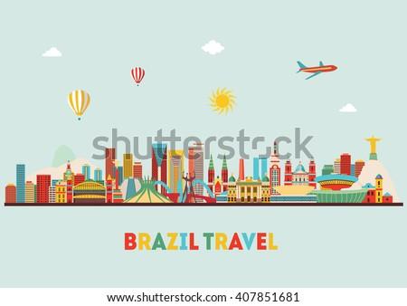 Brazil famous monuments skyline. Vector illustration - stock vector