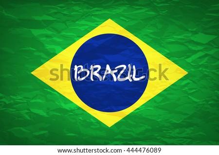 Brazil Flag. An old grunge flag of Brazil state vector art - stock vector