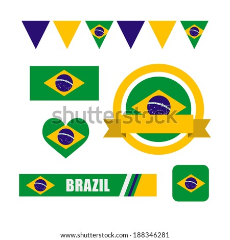 Brazil flag, banner and icon patterns set illustration - stock vector