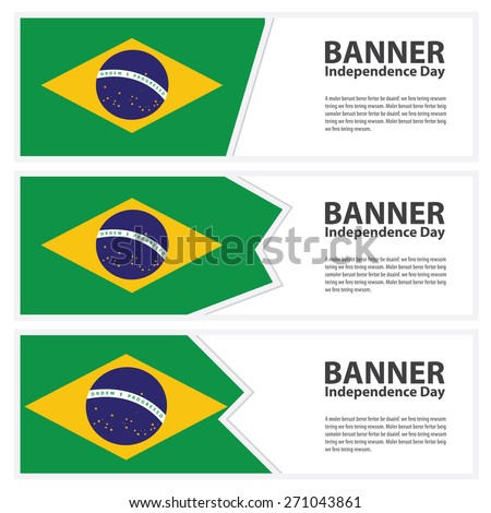 brazil  Flag banners collection independence day - stock vector