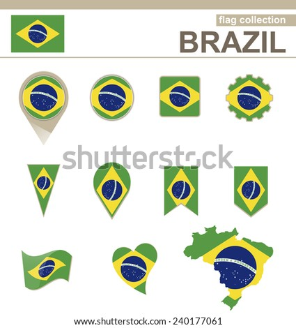 Brazil Flag Collection, 12 versions - stock vector