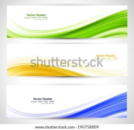 Brazil flag concept three colorful wave header set design  - stock vector