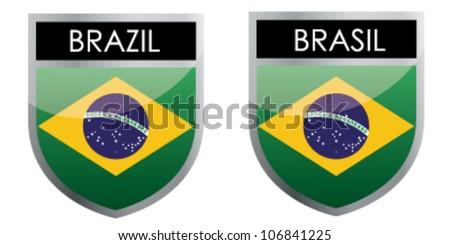 Brazil flag emblem - stock vector
