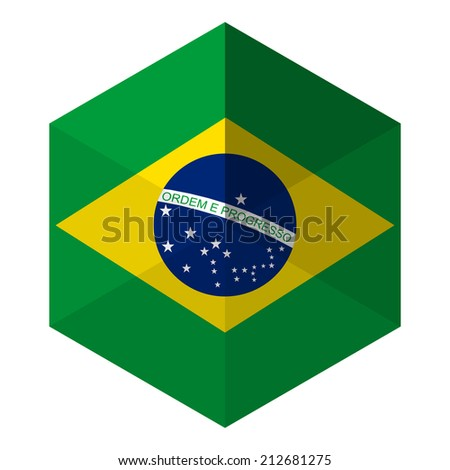 Brazil Flag Hexagon Flat Icon Button - stock vector