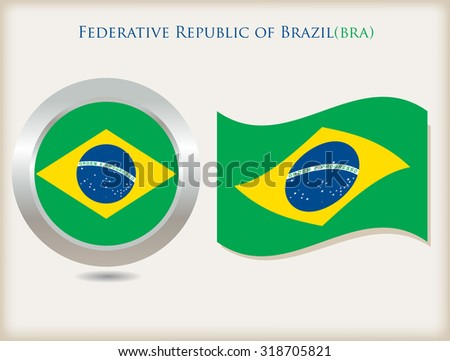 Brazil flag icon.Brazilian flag vector illustration. - stock vector