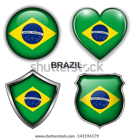 Brazil flag icons, vector buttons.  - stock vector