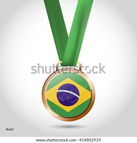 Brazil Flag in Bronze Medal. Olympic Game Bronze Medal. Vector Illustration - stock vector