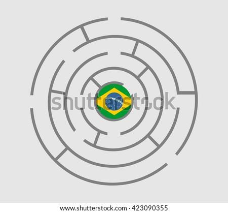 Brazil flag in the maze of politic problems metaphor. Vector illustration - stock vector