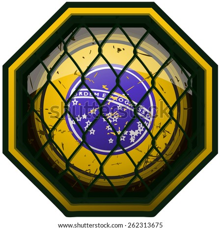 Brazil Flag MMA Octagon Sign, Vector Illustration isolated on White Background.  - stock vector