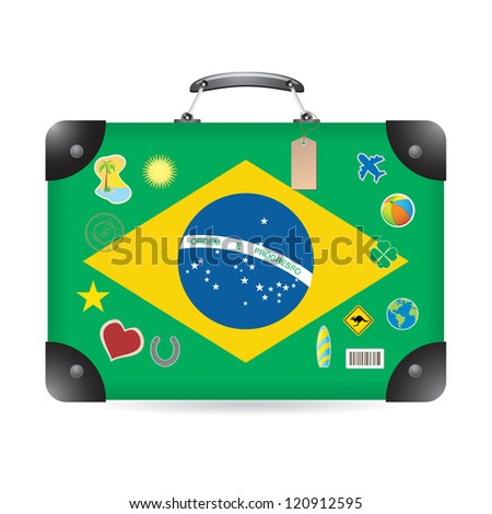 Brazil flag on bag - stock vector