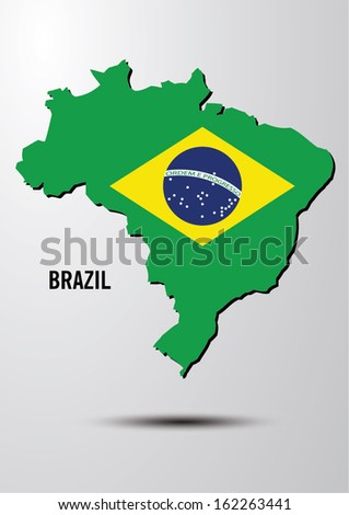 brazil flag on map of country vector images - stock vector