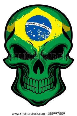 Brazil flag painted on a skull - stock vector