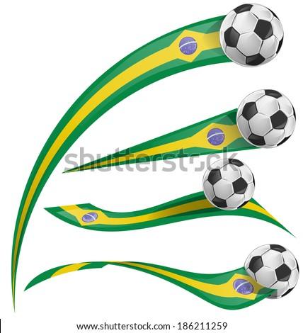 brazil flag set with soccer ball - stock vector