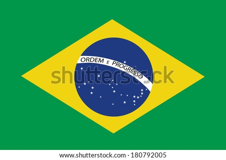 Brazil flag vector isolated on green background.