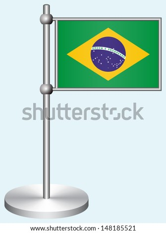 Brazil Flag with Metal Stand - stock vector