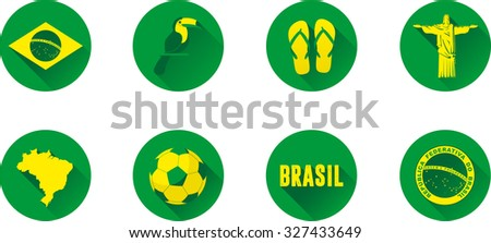Brazil Flat Icon Set. Vector graphic flat icon images representing symbols and landmarks of Brazil. - stock vector