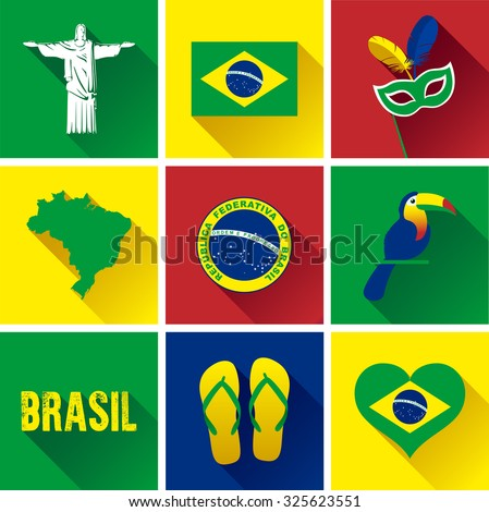 Brazil Flat Icon Set. Vector graphic flat icon images representing the symbols and landmarks of Brazil. - stock vector