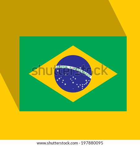 Brazil  Flat Icon with Brazilian Flag. Vector. EPS10 - stock vector
