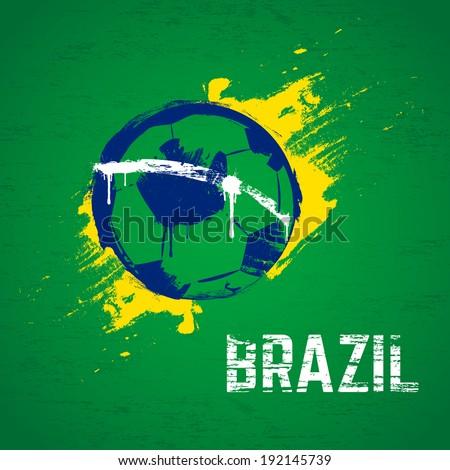 Brazil football background. Vector. - stock vector