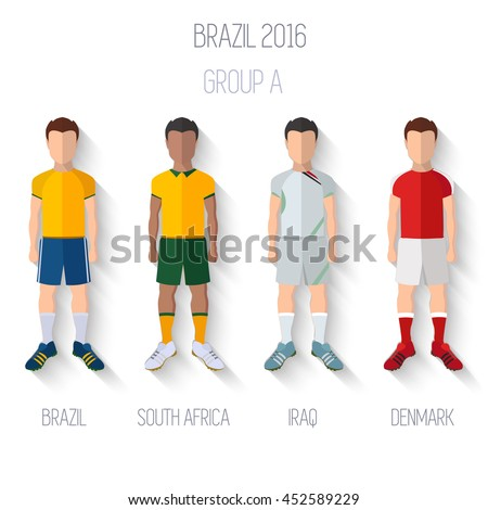 Brazil 2016 football Championship Infographic Qualified Soccer Players GROUP A. Football Game Flat People Icon.Soccer / Football team players. Group A -  Brazil, South Africa,Iraq, Denmark.Vector. - stock vector