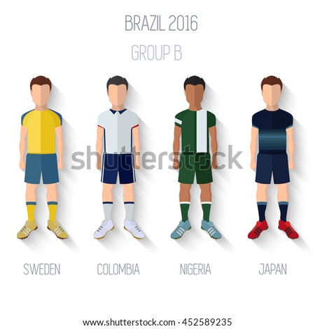 Brazil 2016 football Championship Infographic Qualified Soccer Players GROUP B. Football Game Flat People Icon.Soccer / Football team players. Group B - Sweden, Colombia, Nigeria, japan .Vector. - stock vector
