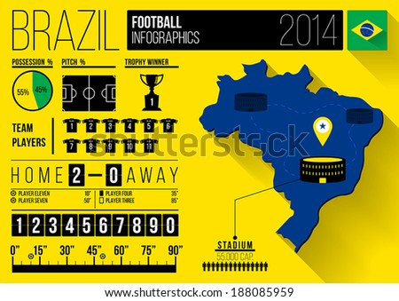 Brazil Football Infographic Design - stock vector