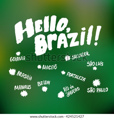 Brazil greetings card concept on green stock vector royalty free brazil greetings card concept on green background some of the main brazilian cities m4hsunfo