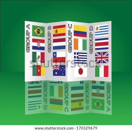 Brazil Group E,F,G,H vector chart with country flags and reflection