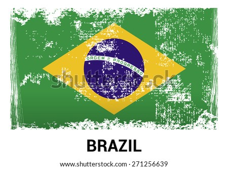 Brazil grunge flag isolated vector in official colors and Proportion Correctly. country's name label in bottom - stock vector