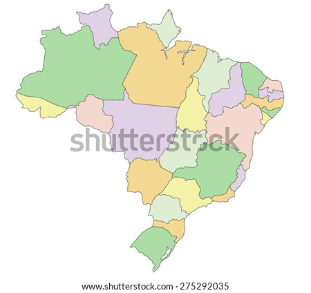 Brazil - Highly detailed editable political map. - stock vector