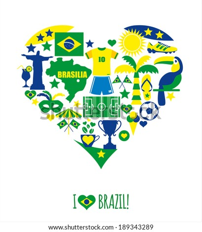 Brazil icon set. Flat design. - stock vector