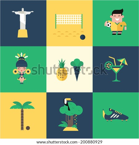 Brazil icons - stock vector