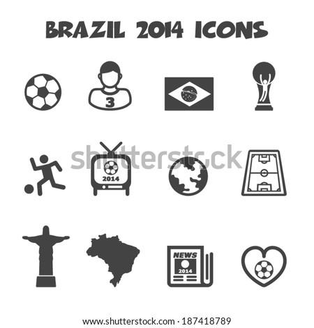 brazil 2014 icons, mono vector symbols - stock vector
