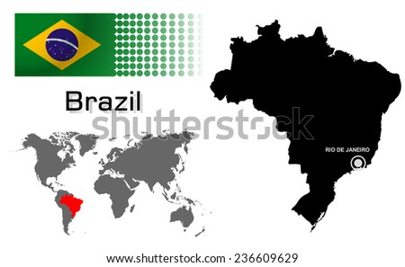 Brazil info graphic with flag , location in world map, Map and the capital ,Canberra, location.(EPS10 Separate part by part) - stock vector