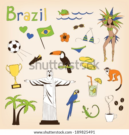 Brazil - landmarks and symbols set - stock vector