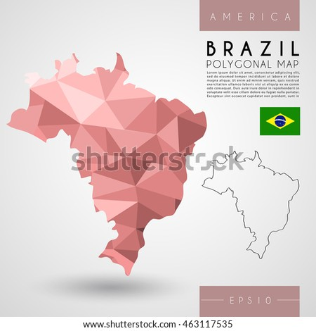Brazil : Low Poly Map : Vector Illustration
