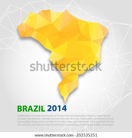 Brazil map. Abstract 3D geometric background in Brazil Vector EPS 10 illustration. - stock vector