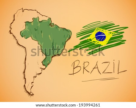 Brazil Map and National Flag Vector - stock vector
